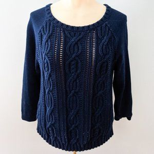 Tommy Hilfiger Cable Knit Pullover Sweater Navy